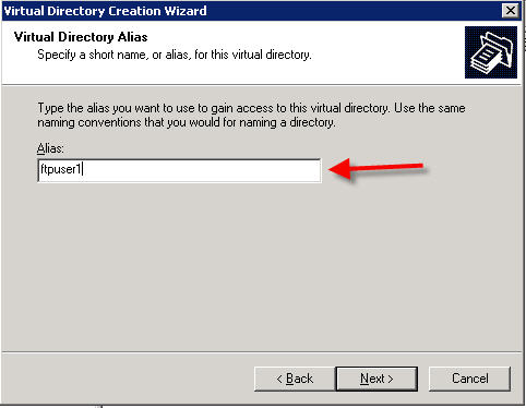 virtual directory wizard