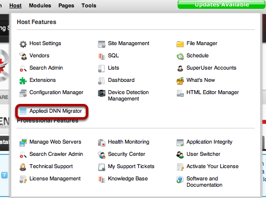 Applied Innovations DNN migrator Settings