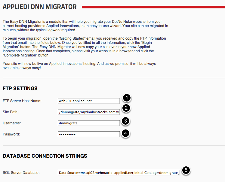 DNN Migrator Configuration