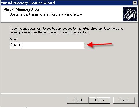virtual directory wizard
