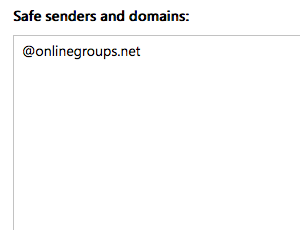 To whitelist all email from a domain, add the domain to the list of safe senders