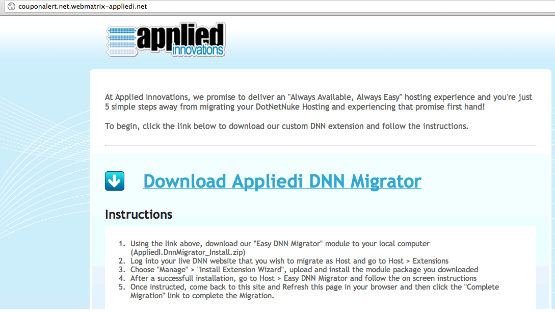 Download Applied Innovations DNN Migrator