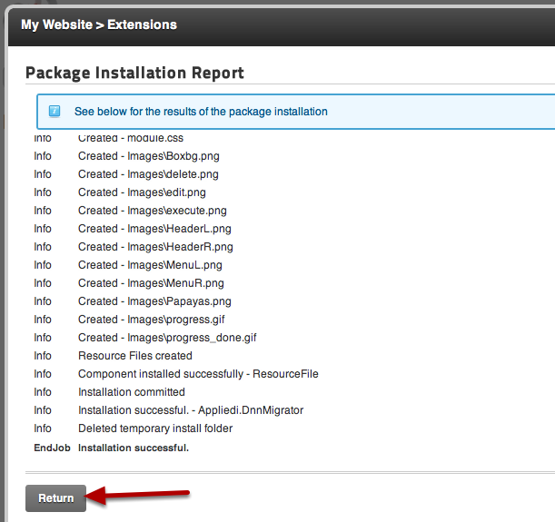 Easy DNN Migrator Package Installation Report