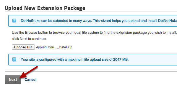 Upload New Extension Package